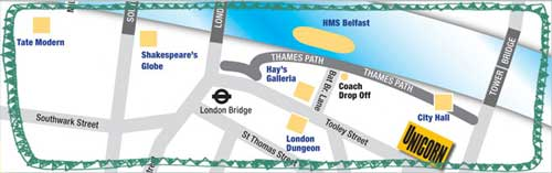 location map of Unicorn Theatre